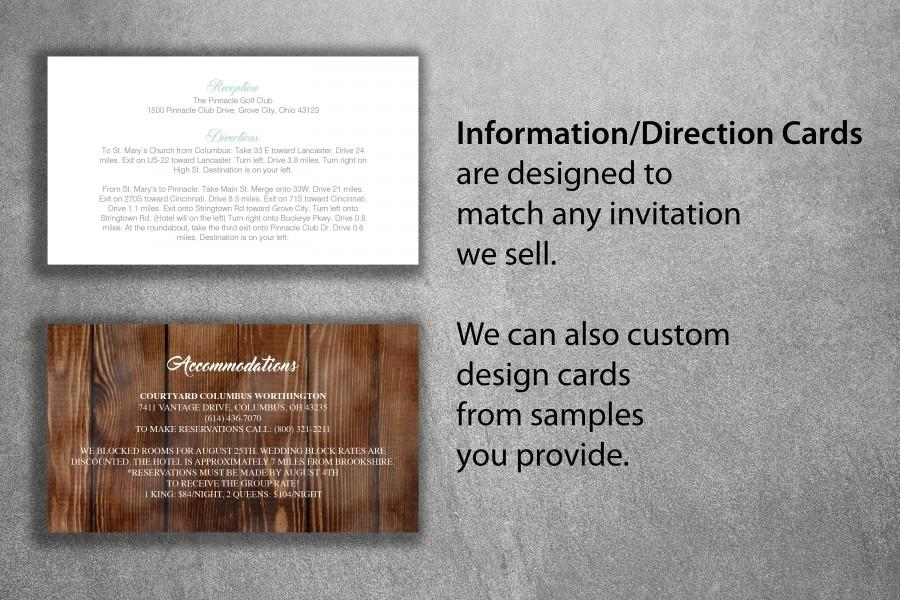 Mariage - Affordable Wedding Info Card Add-on - Cheap Wedding Info Card ,Direction Card, Accommodations, Details, Unique, Custom, Simple, DIY, Classic