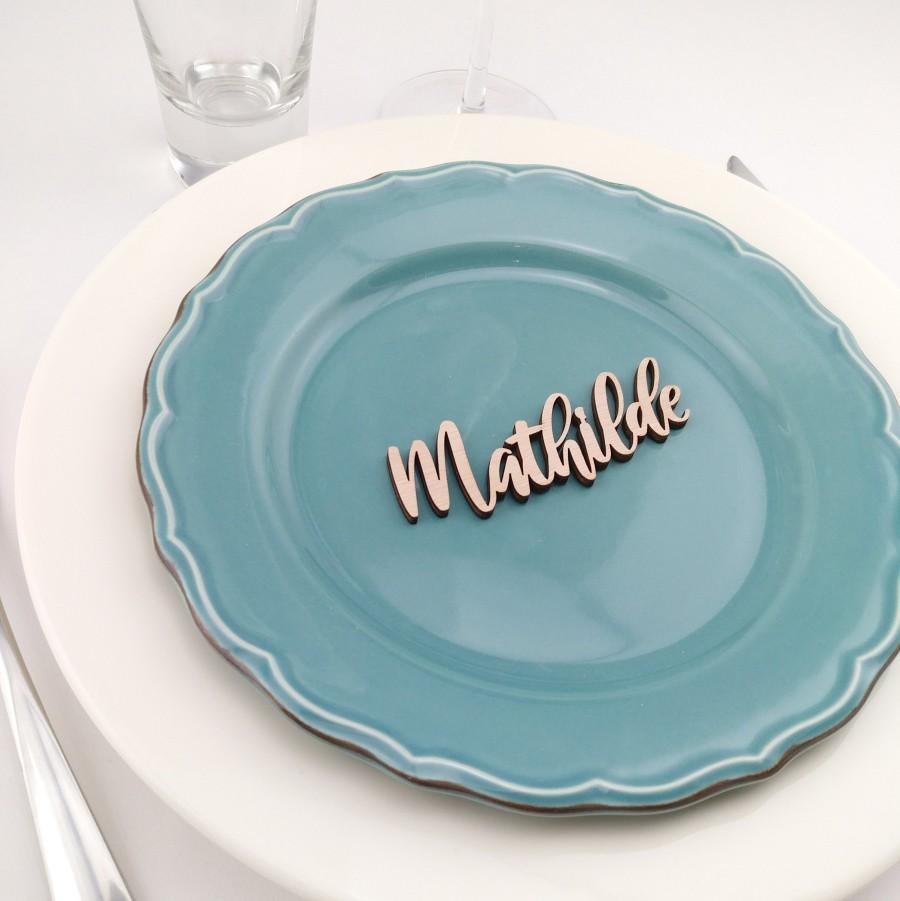 Mariage - Mark up initials woodcut - wedding, christening, birthday - table Decoration