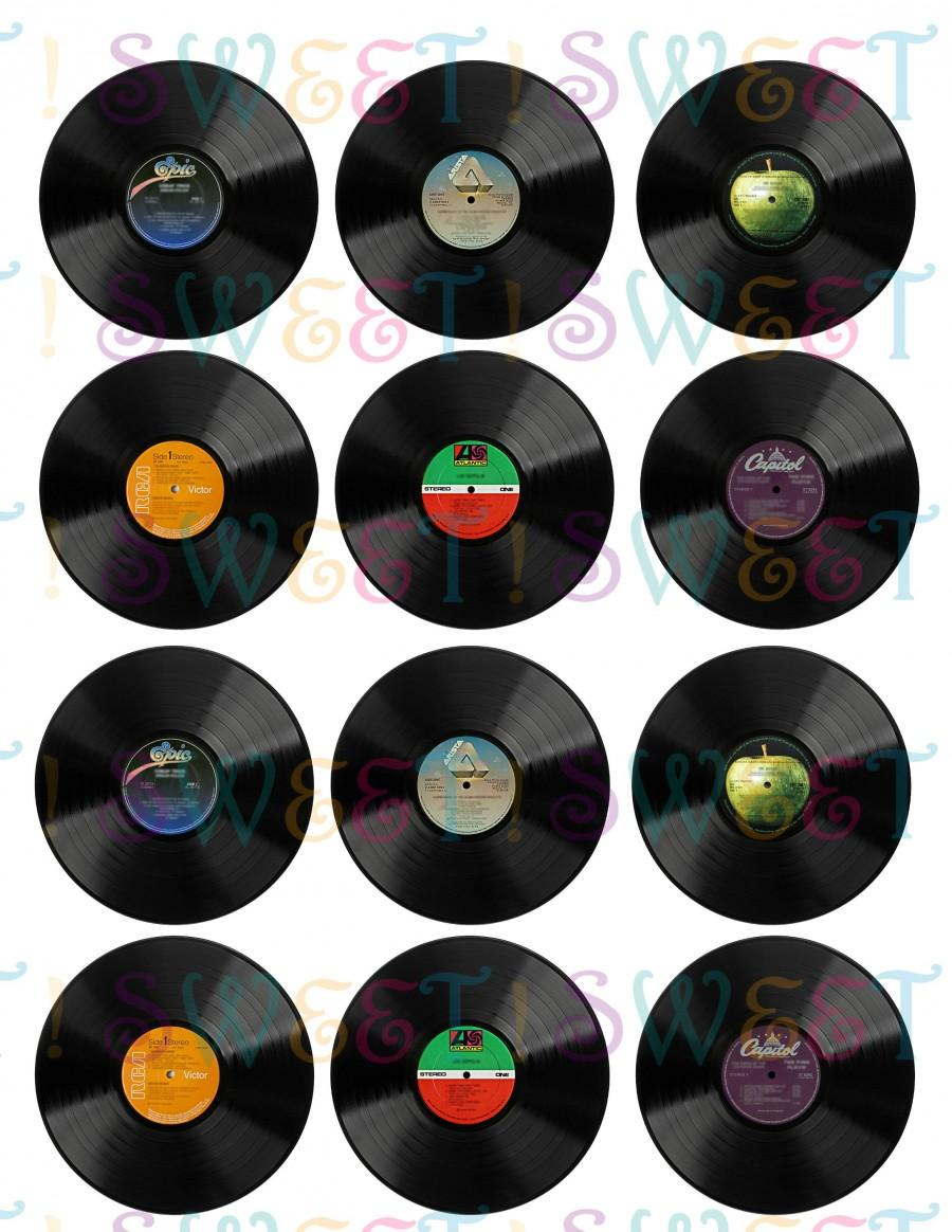 Свадьба - Edible Vinyl Record Cupcake, Cookie, Oreo or Drink Toppers - Wafer Paper or Frosting Sheet