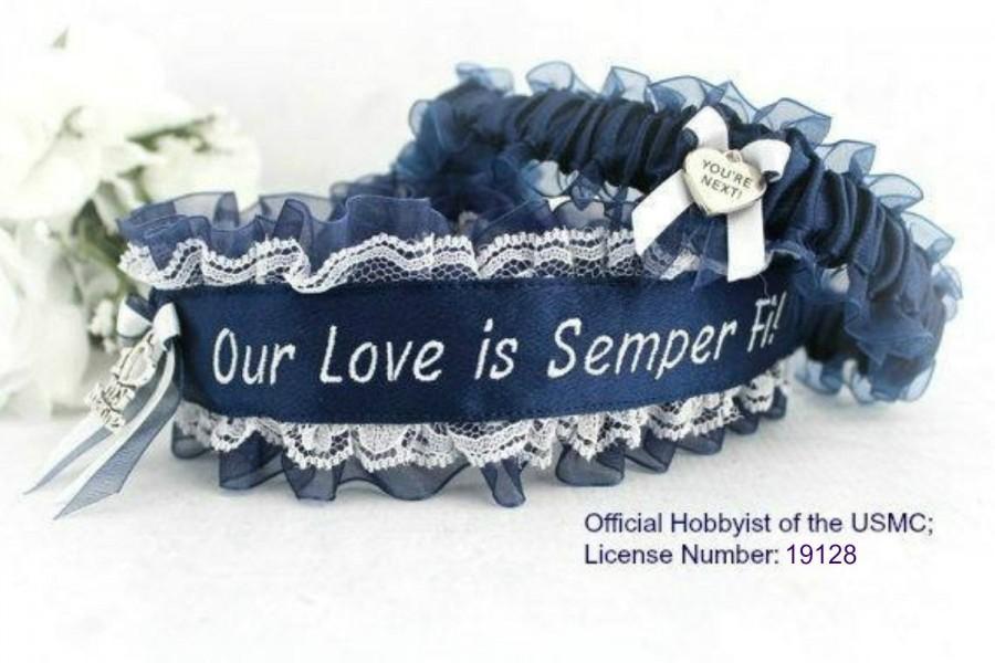 Свадьба - US Marine Garters - US Marine Corps Garter set - Something Blue Garters  - Our Love Is Semper Fi - Personalized US Marine Garters