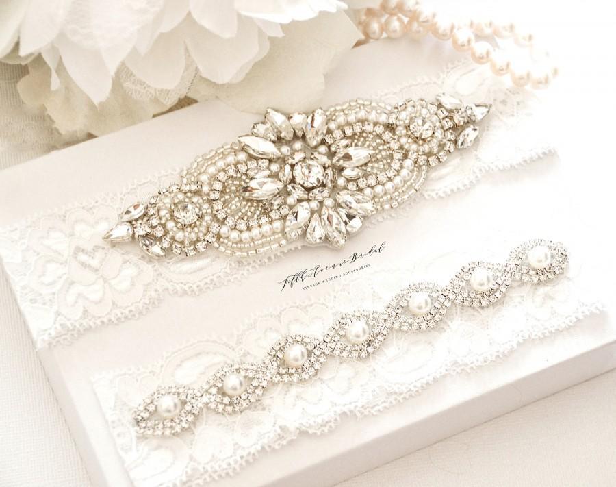زفاف - Wedding Garter, Bridal Garter - Vintage Rhinestone Lace Wedding Garter, White Lace Pearl Garter Set - Style FL20957