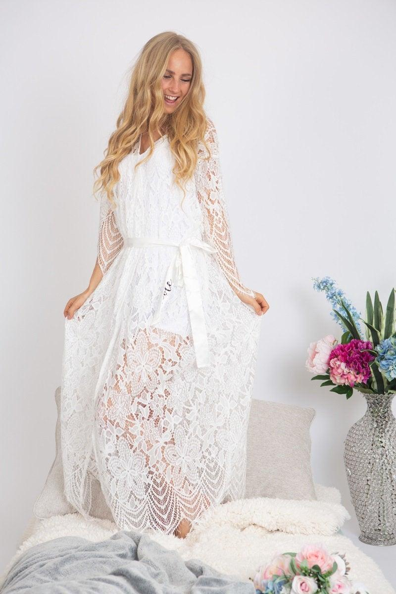 Long Lace Bridal Robe Lace Robe Long Lace Robe Bride Robe Bridal Maxi Lace Robe Bridal Robes Wedding Lace Robes 2931247 Weddbook
