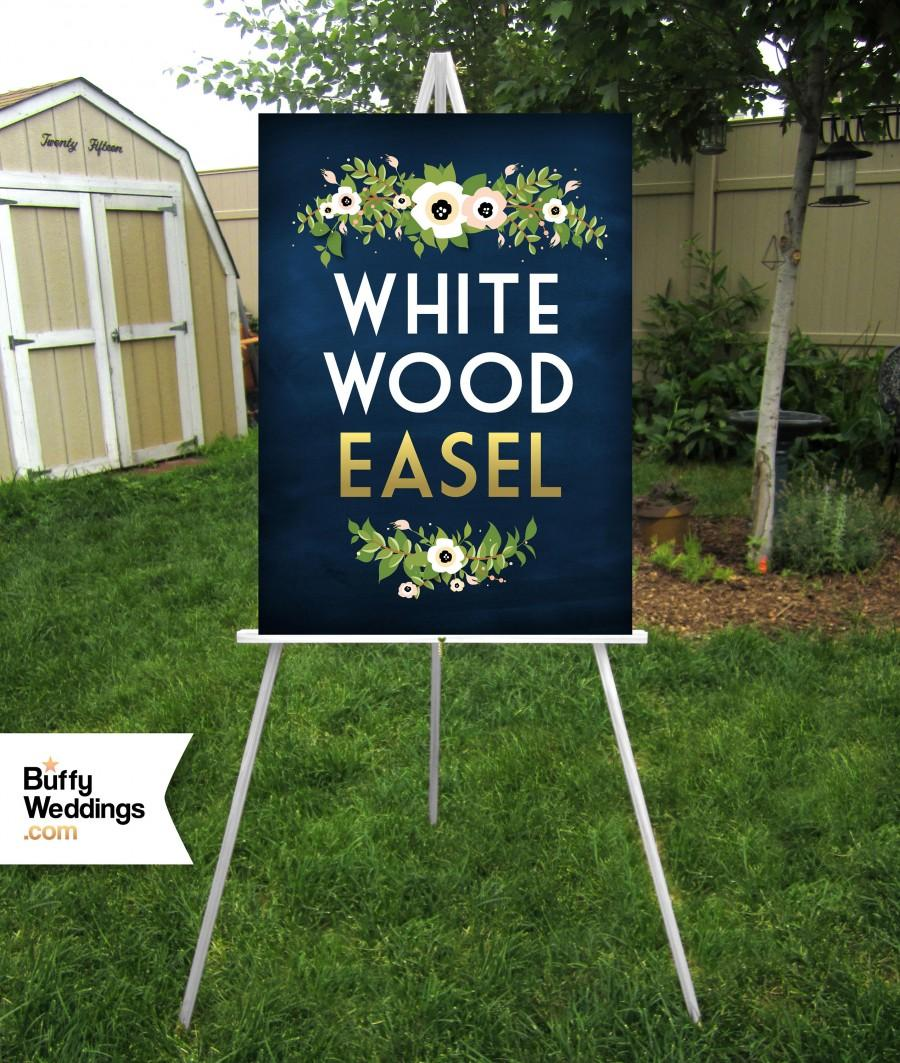 Свадьба - WHITE Easel Wood 5ft Floor Display Large Wedding Sign Stand . Holds Clear Acrylic Chalkboard Foam Board Canvas Wood Signage up to 30 x 40 in