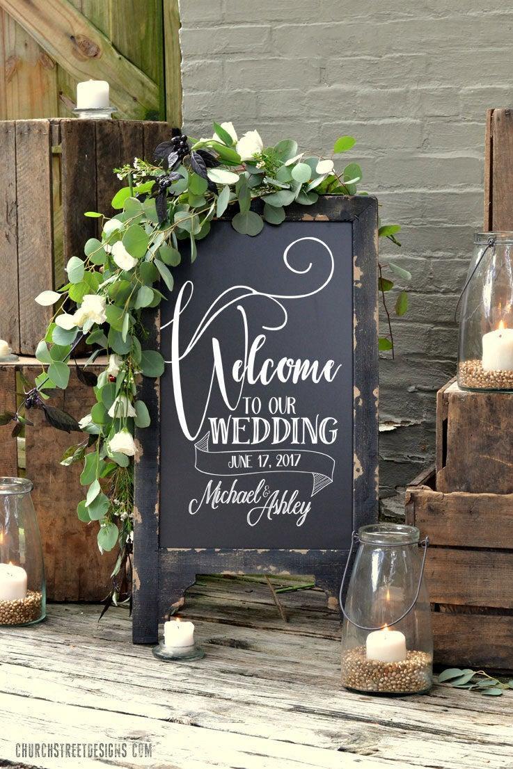 Hochzeit - Wedding Chalkboard with Message, Double Sided Chalkboard, Chalkboard Easel, Sandwich Chalkboard, Welcome To Our Wedding