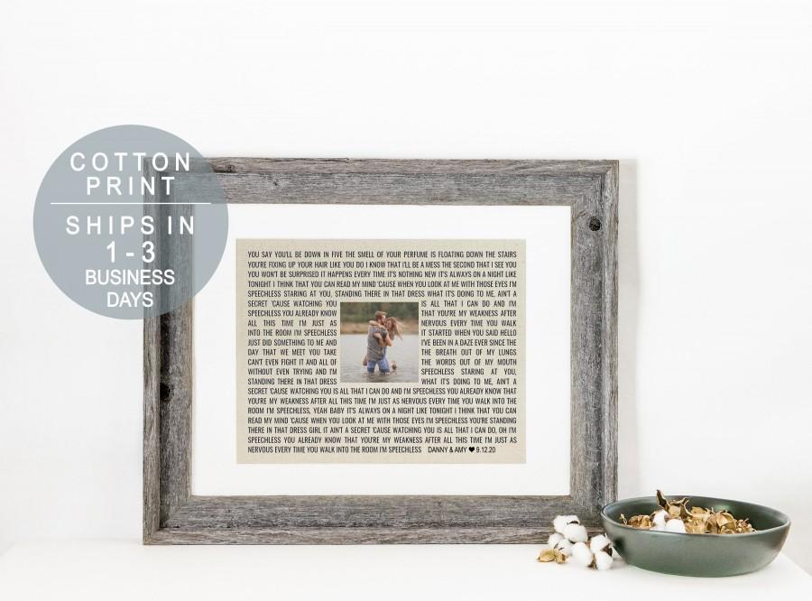 Свадьба - Custom Song Lyrics Art Personalized Cotton Anniversary Gift 2nd Anniversary Gift Song Lyric Print or First Dance Wedding Song Lyrics Gift
