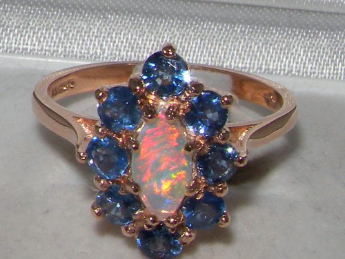 زفاف - 14K English Rose,Yellow,White Gold Natural Marquise Colourful Opal & Light Blue Sapphire Cluster Flower Ring -Made in England-Customizable