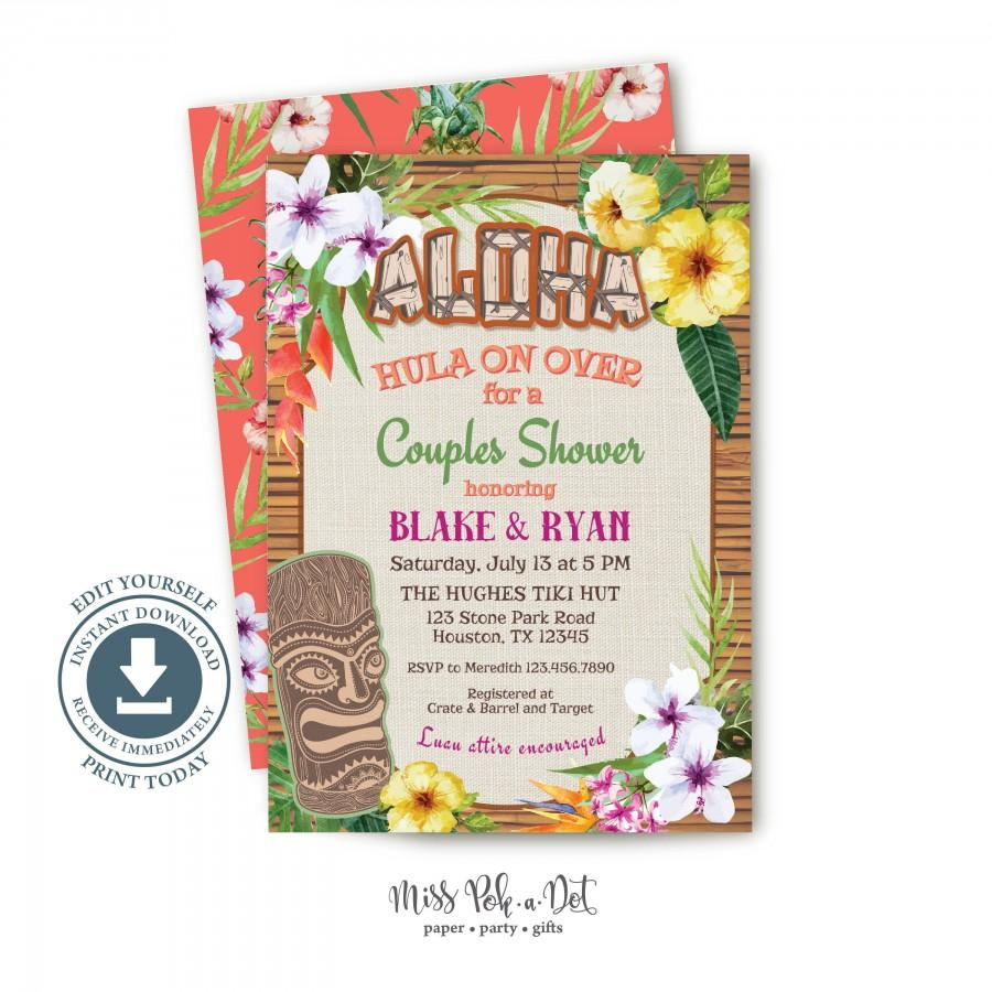 Свадьба - Hawaiian Luau Couple Shower Invitation, Editable Printable, Tiki Invite, Bridal Shower, Wedding, Engagement Party, Graduation, Retirement