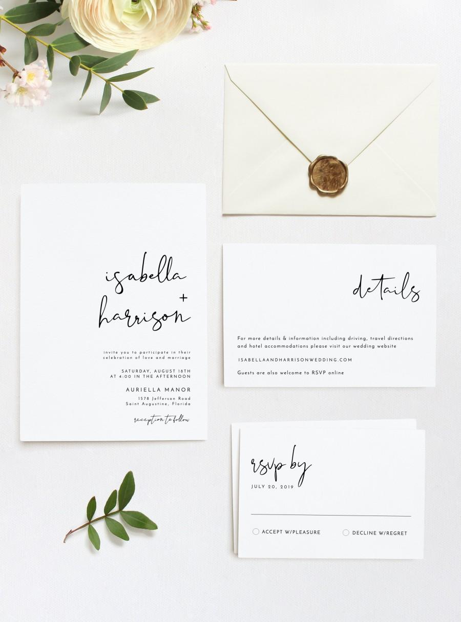 Adella - Modern Minimalist Wedding Invitation Template Suite ...