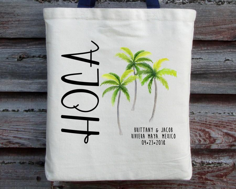 Wedding - Destination Wedding Welcome Bag, Hola Wedding Tote, Riviera Maya Wedding Tote, Cancun Wedding Bag, Wedding Welcome Bag, Beach Wedding