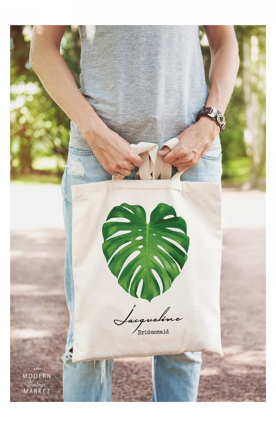 Wedding - Personalized Tote Bag With Palm Leaf,Bridesmaid Gifts,Bridesmaid Tote,Beach Bag,Bridal Party Gifts,Wedding Party Gifts,Personalized Tote Bag