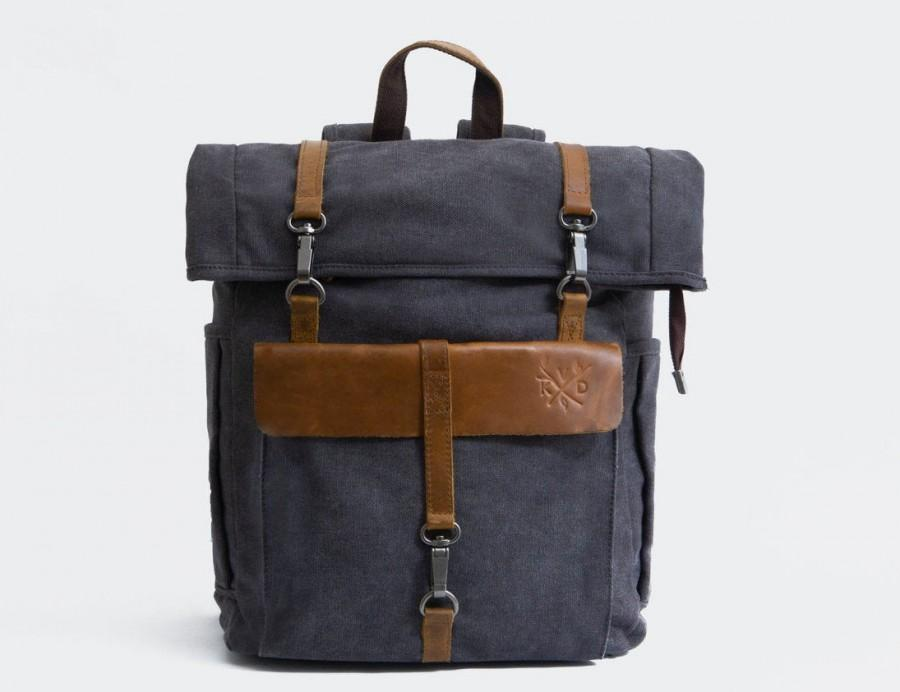 Wedding - KOVERED Waxed Canvas Trendy Backpack - Rolltop Leather Man Backpacks
