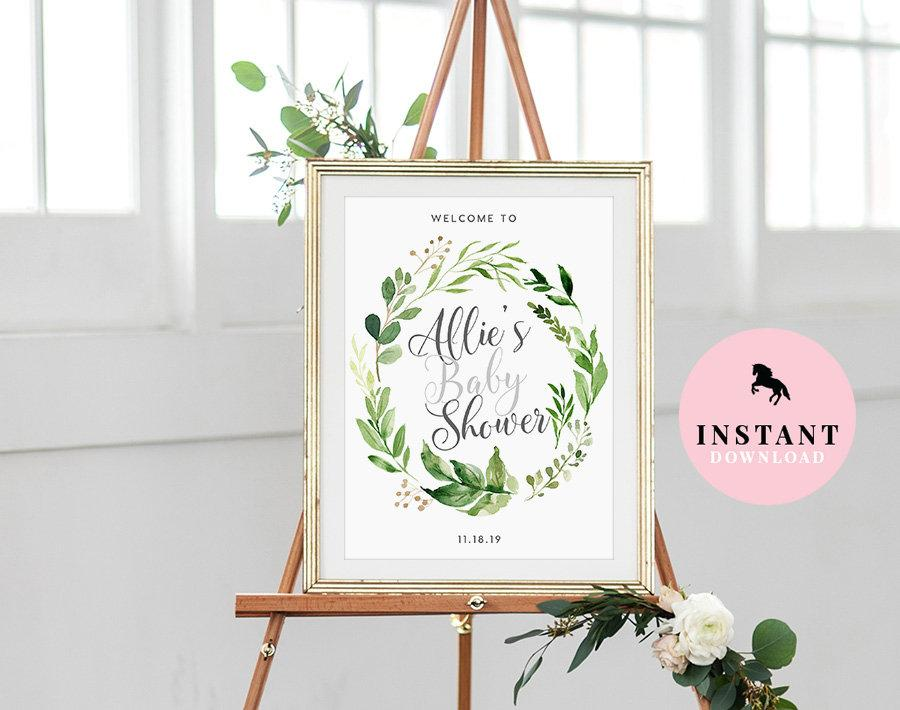 Свадьба - Baby Shower Welcome Sign INSTANT DOWNLOAD Editable Greenery Poster, Baby Shower Sign, Personalized Baby Shower Sign, Baby Shower Poster