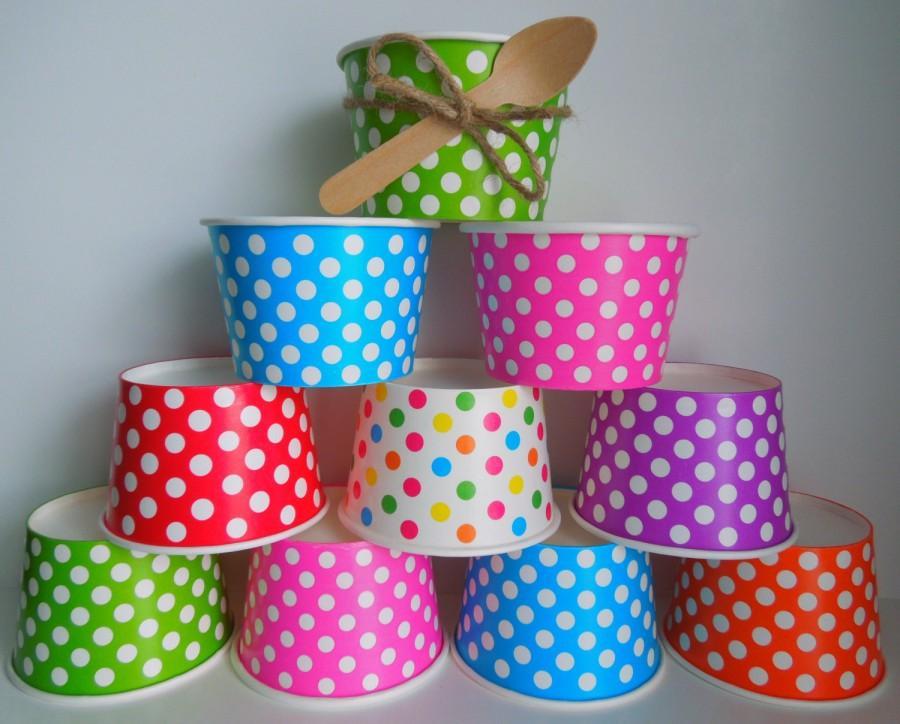 Свадьба - 15 Ice Cream Cups, Yogurt Cups, Ice Cream Bowls,Paper Cups, Dessert Cups,Snack Cups,Popcorn Treat Cups,Kids Birthday Favor Cups, Soup Bowls