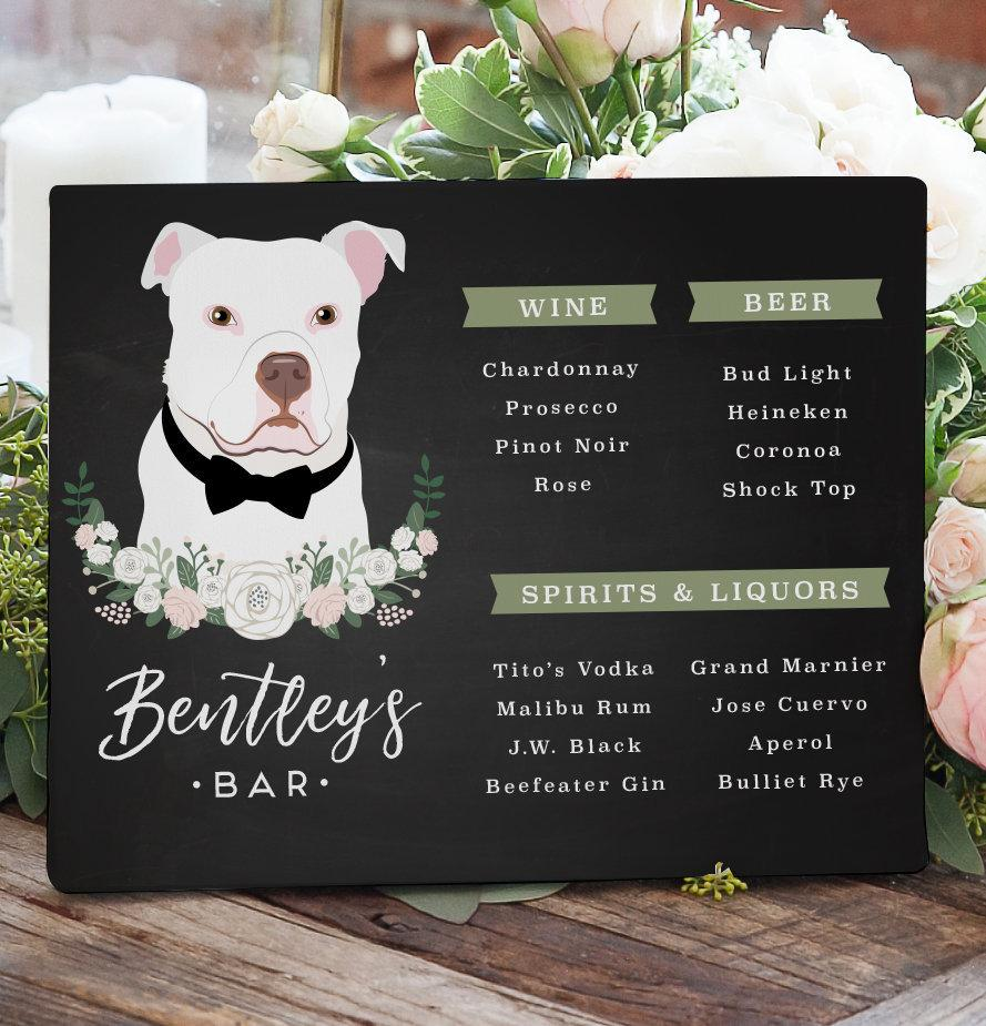 Свадьба - Open Bar Sign for Wedding with Dog Portrait, Bar Menu Sign for Wedding with Pet Portrait, Custom Bar Sign for Wedding