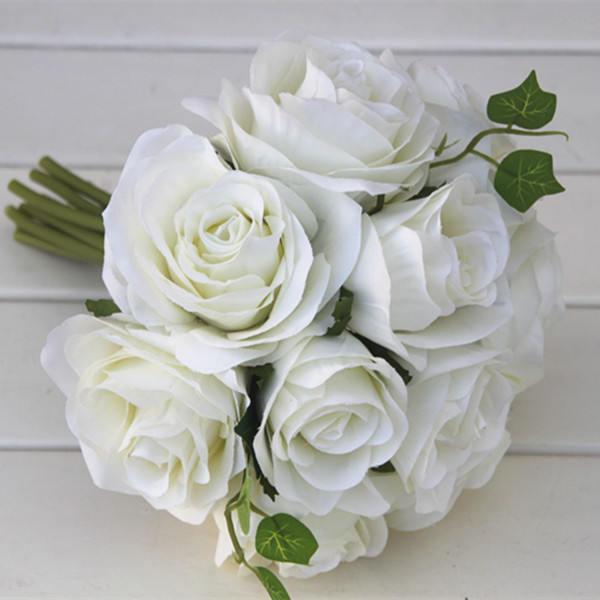 Wedding - White Flower Bouquet Silk Rose Flower Bouquet Cream White Bridesmaids Bouquet Artificial Flower Bouquets Silk Roses ZHHSZ10-01