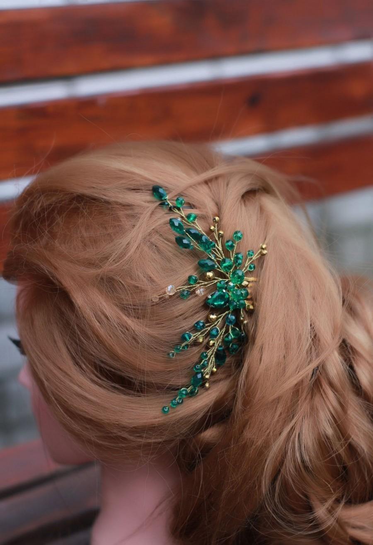 Mariage - Emerald bridal hair comb Green crystal hair comb Art deco hair comb Emerald Green hair comb wedding hair comb Green rhinestone headpiece