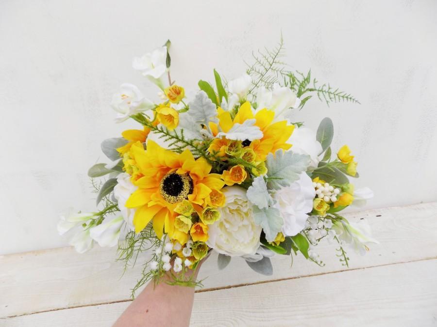 Свадьба - Sunflower bridal bouquet boho cascade bouquet artificial silk flowers rustic woodland cascading bouquet Spring Summer wedding