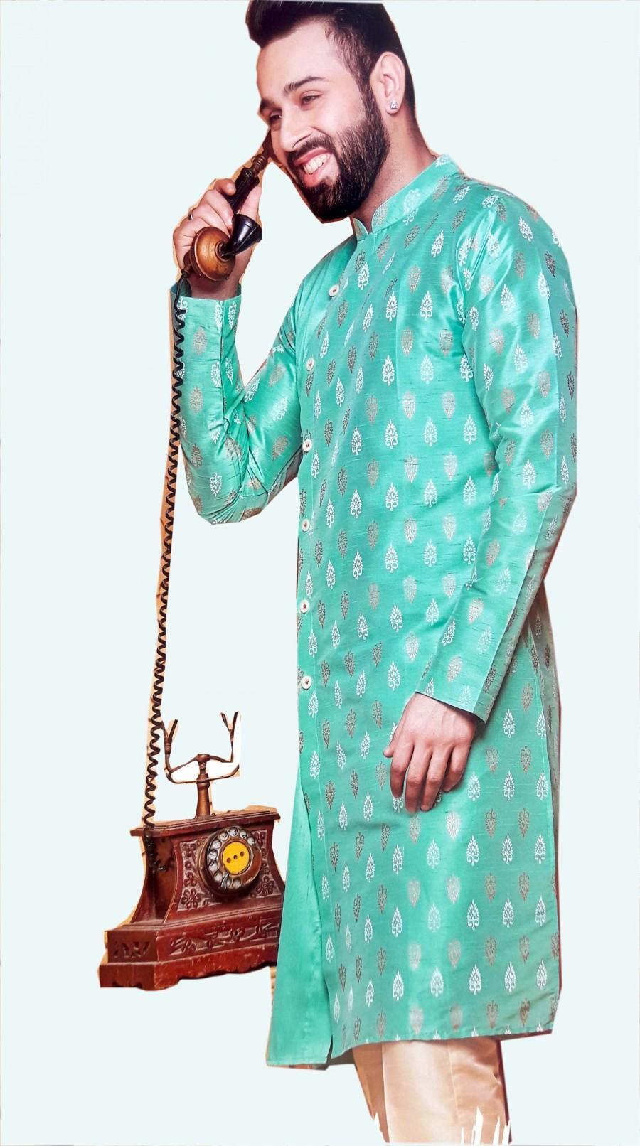 Wedding - Men Indian Kurta Pajama for Designer Wedding Party wear Royal Outfit  Ethnic India Dress Traditional Desi Poshak