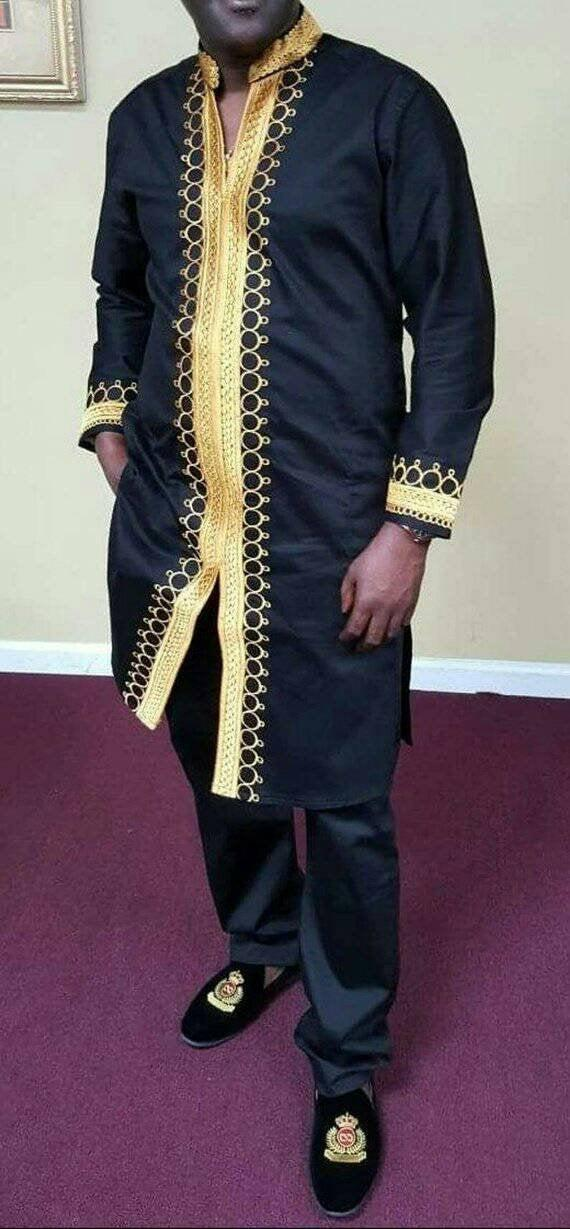 Wedding - African men's clothing, African men's outfit, African groom suit, Dashiki for men, African dashiki. African attire. Black suit.