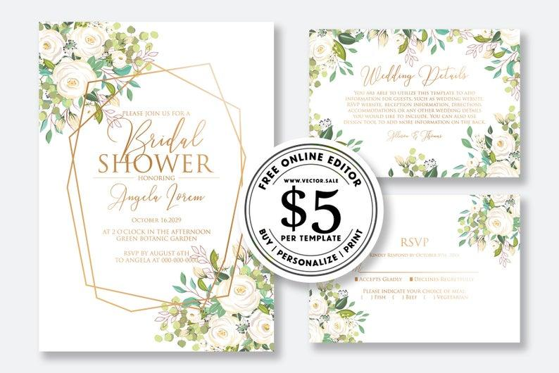 Wedding - Wedding invitation set watercolor white rose peony eucalyptus herbal greenery sakura card template editable online USD 5.00 on VECTOR.SALE