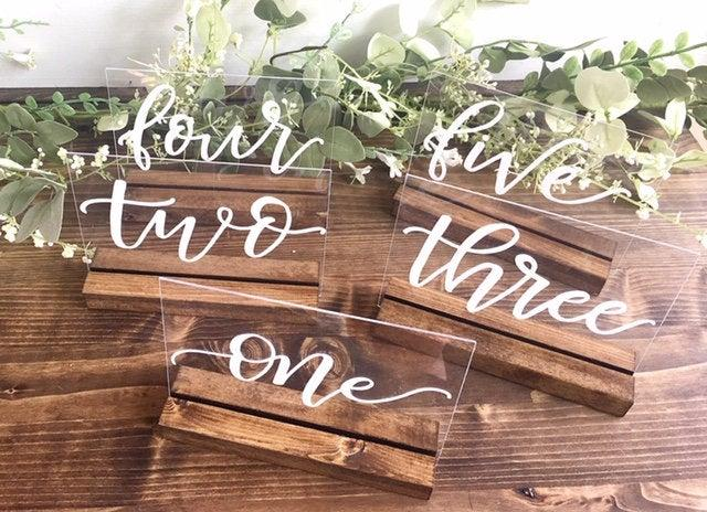 Mariage - Acrylic Table Numbers Wedding Table Number Wedding Table Decor Clear Table Numbers Acrylic Table Sign
