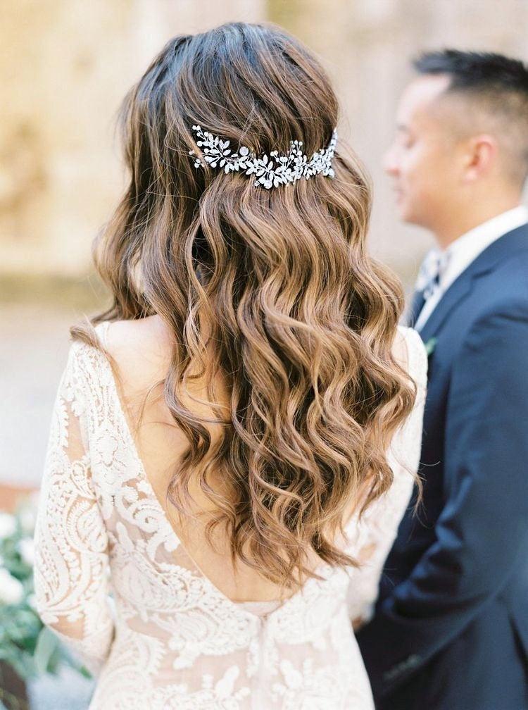 Mariage - Boho Bridal Back Headpiece Bohemian Headpiece Wedding Pearl Headband Wedding Silver Tiara Wedding Hair Vine Bridal Headband Bridal hair comb