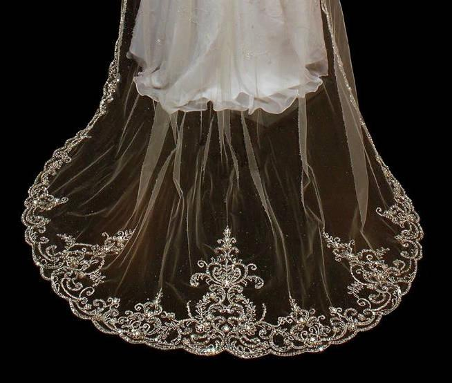 Mariage - Exquisite Beaded Silver Embroidery Wedding Veil in Waist, Fingertip, Chapel, Cathedral, Royal, Regal Cathedral Wedding Veil -Plus Extra Wide