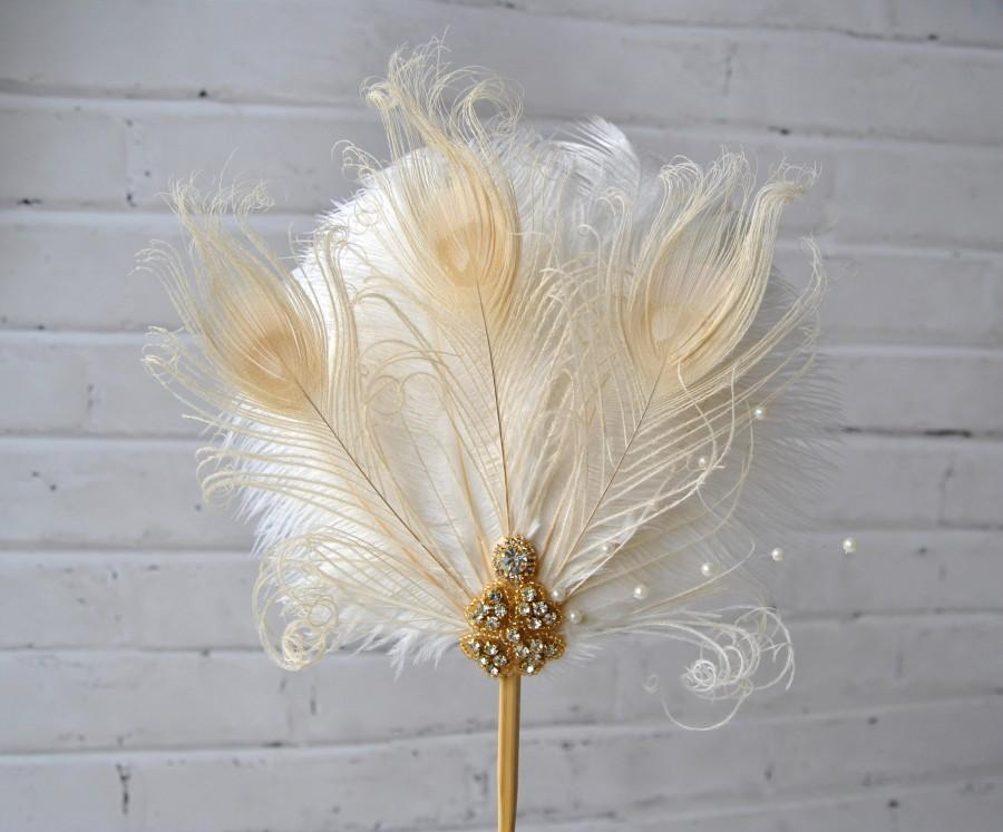 Mariage - Gold Feather Cake Topper Great Gatsby 1920s Customized Wedding Cake Topper Personalized Cake Topper for Wedding Ostrich Peacock Cake Topper