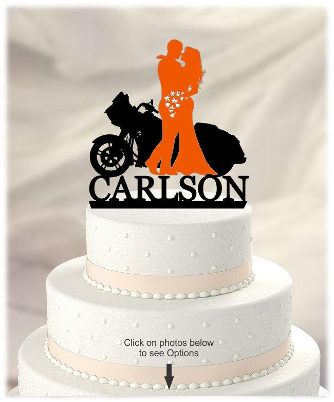 Mariage - BLACK Wedding Cake Topper with Bride and Groom in COLOR, Harley Davidson Motorcycle, Personalized with Name, Acrylic [CT125wg]