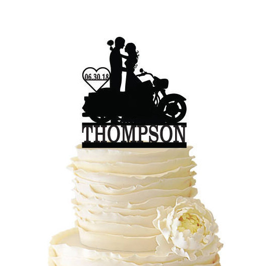 Mariage - Couple with Motorcycle Cake Topper with Name and Date - Bride and Groom -  Standard Acrylic - Wedding Cake Topper - 137