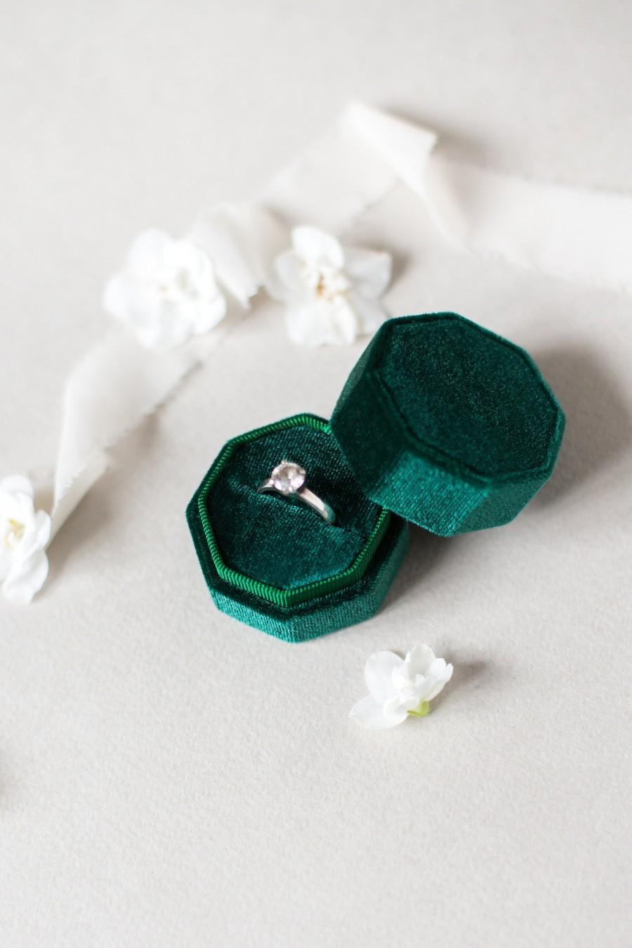 Mariage - Velvet Box, Proposal ring box, Wedding ring box, Octagon, Royal Emerald