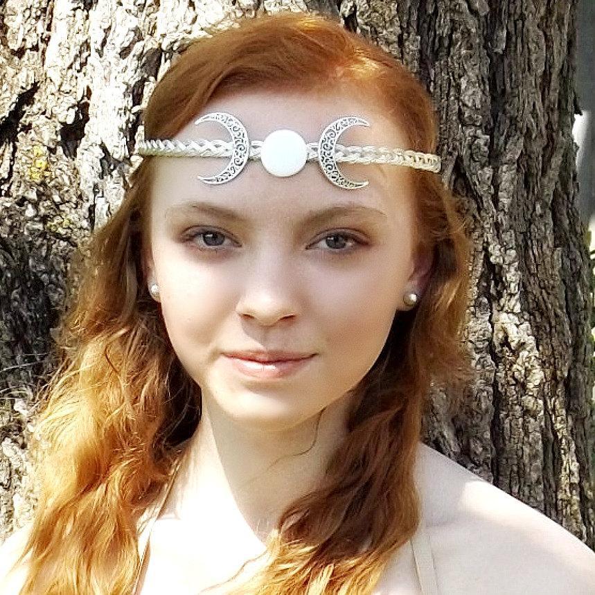 Mariage - Crescent Moon Triple Goddess Circlet Headband Tiara