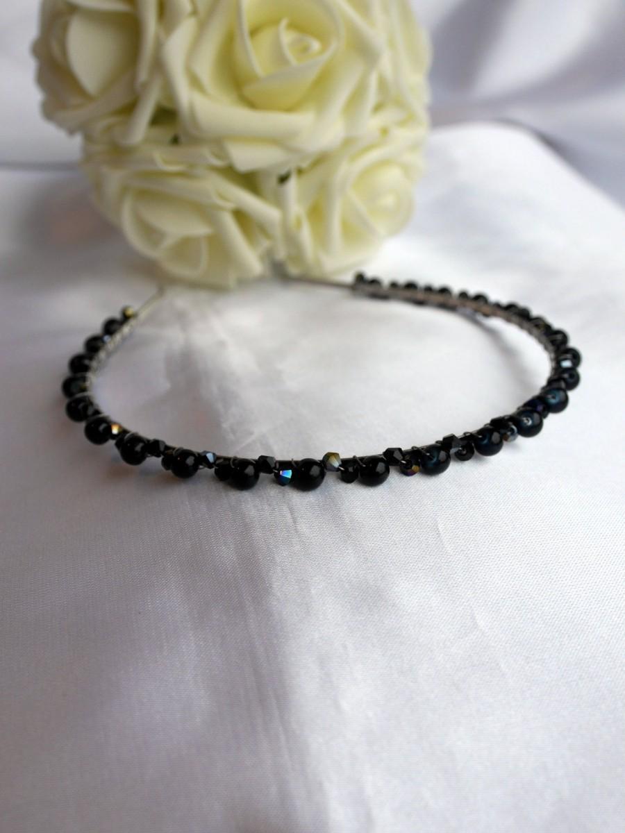 Mariage - Black Wedding Hair Accessory, Black Gothic bride hair piece, Black headband, Gothic bridesmaid tiara, black bridal Tiara hair piece,
