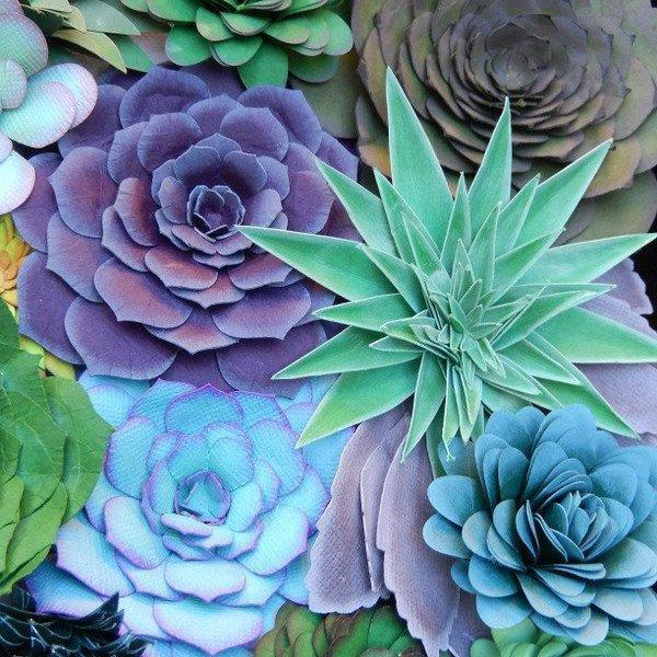 Mariage - Succulents - Sold individually - Paper Succulent Plants - Colorful Succulents for Home Arrangements, Decor or Events - Rosette Succulents