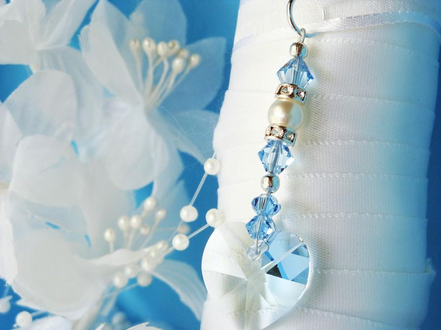 Mariage - Something Blue Bouquet Charm, Swarovski Crystal Wedding Bouquet Charm, Something Blue for Bride, Aqua Blue