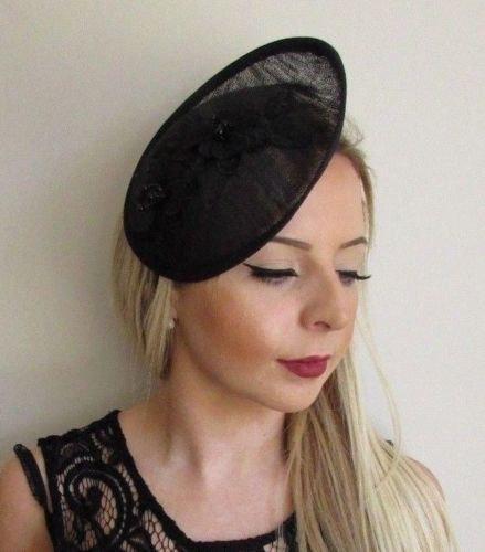 Mariage - Black Beaded Sinamay Disc Saucer Hat Hair Fascinator Funeral Races Formal 5727