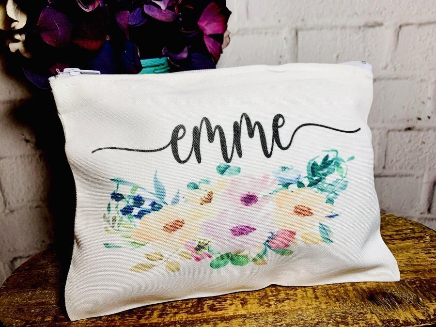 Mariage - bridesmaid makeup bag, makeup bag personalized, bridesmaid cosmetic bag, personalized cosmetic bag, bridesmaid gift, gift bag, set of