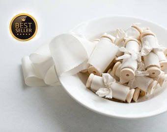 Mariage - Silk ribbon, hand-dyed, Plant-dyed Ivory 100% pure silk habotai ribbon