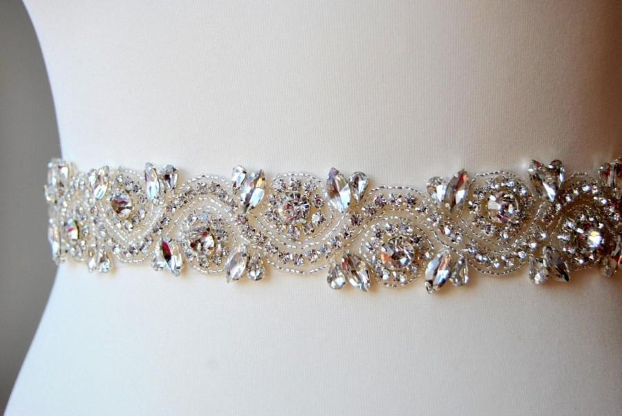 Mariage - Bridal Belt Sash Rhinestone Belt Sash Flower Girl Bridesmaid Gift Sash belt Crystal Dress Sash Belt