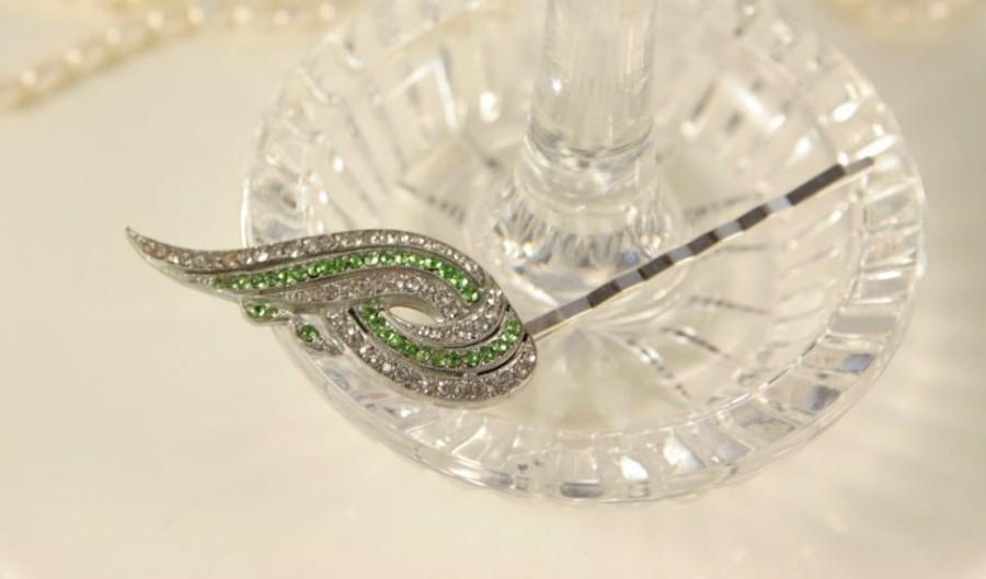 Свадьба - Art Deco Wedding Hair Accessory Emerald Green Crystal Hair Clip Vintage Hair Piece Bridal Hair Clip 1920s Headpiece Something Old for Bride