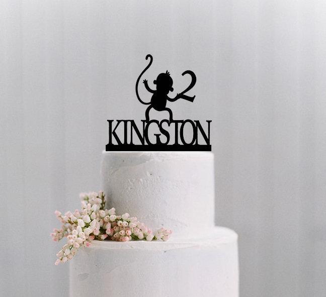 Свадьба - Monkey Name & Age Cake Topper