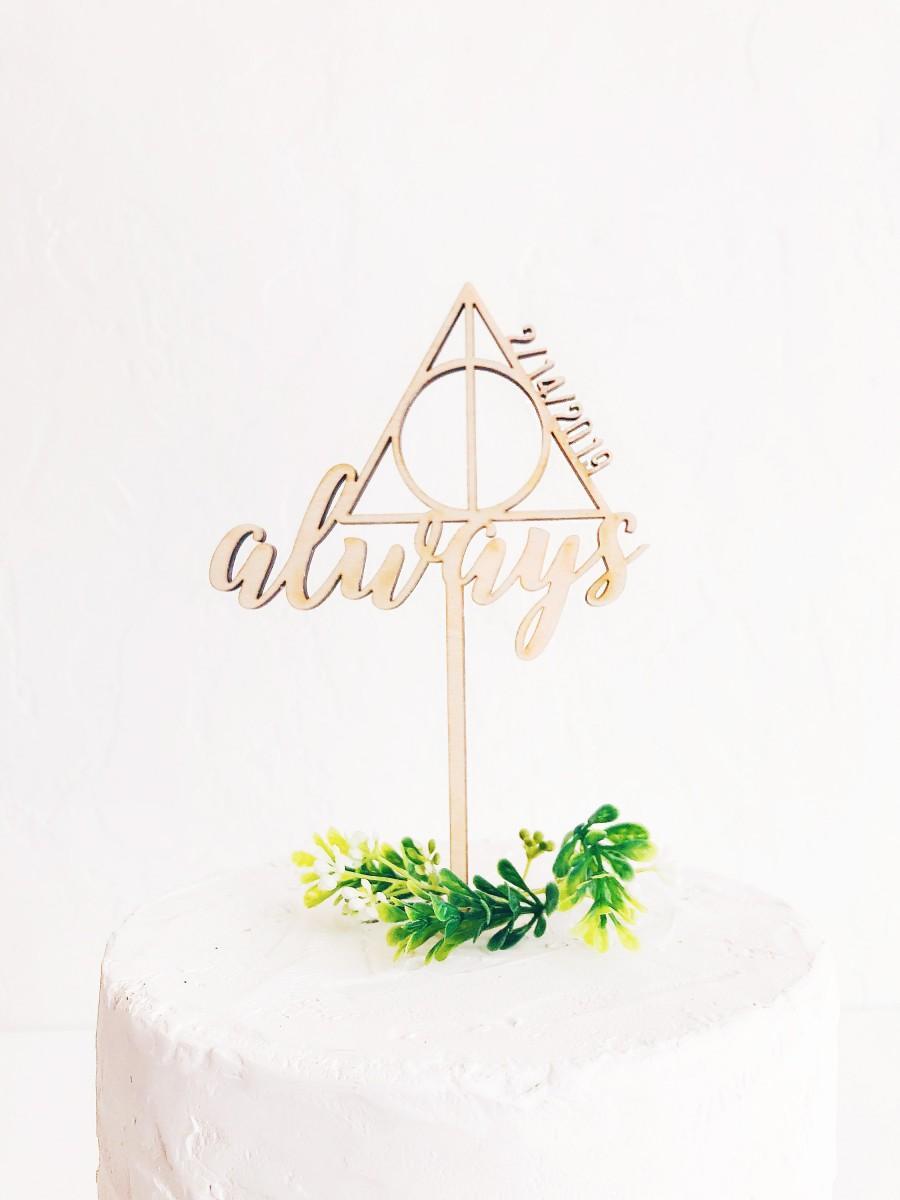Свадьба - Always Cake Topper - Harry Potter - Wooden Wedding Cake Topper - Custom Date
