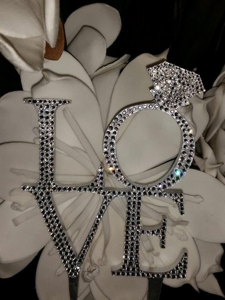 "Свадьба - Gorgeous Swarovski Crystal ""LOVE"" with diamond ring engament cake topper 6'', Rhinestone wedding cake topper"
