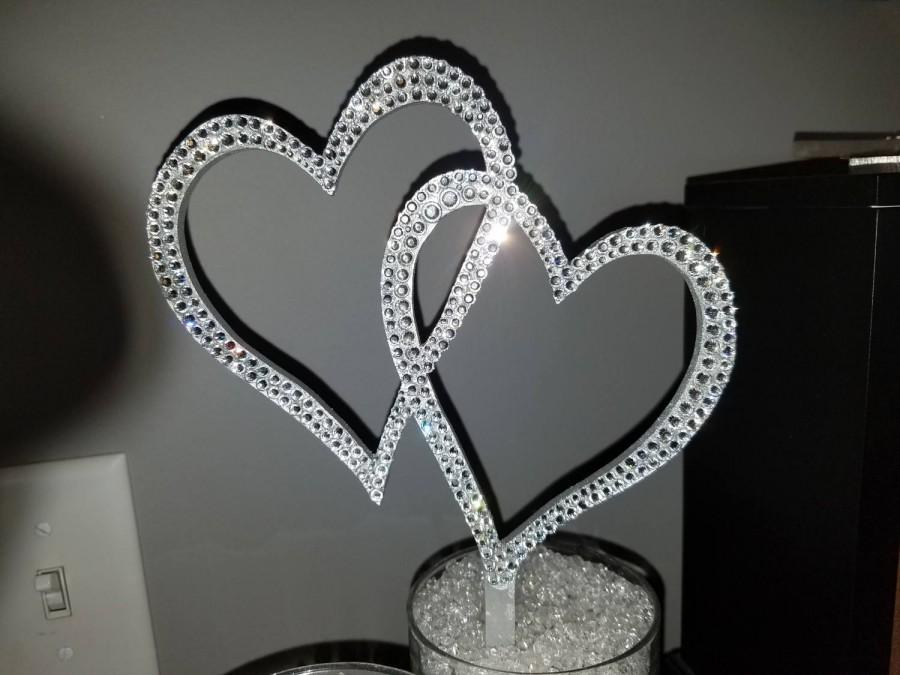 Свадьба - Gorgeous Swarovski Crystal intertwined Hearts wedding cake topper 6'', bling cake topper, rhinestone topper, Crystal cake topper, heart topp
