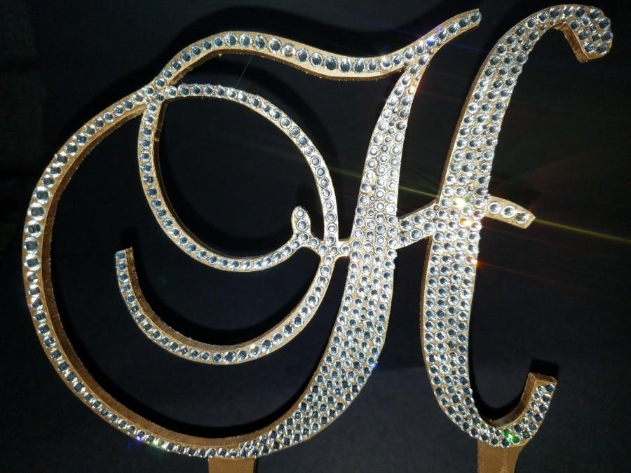 Свадьба - Custom Gorgeous Swarovski Crystal wedding Cake toppers 5'' with crystals added on sides in Any Letter, monogram rhinestone cake toppers