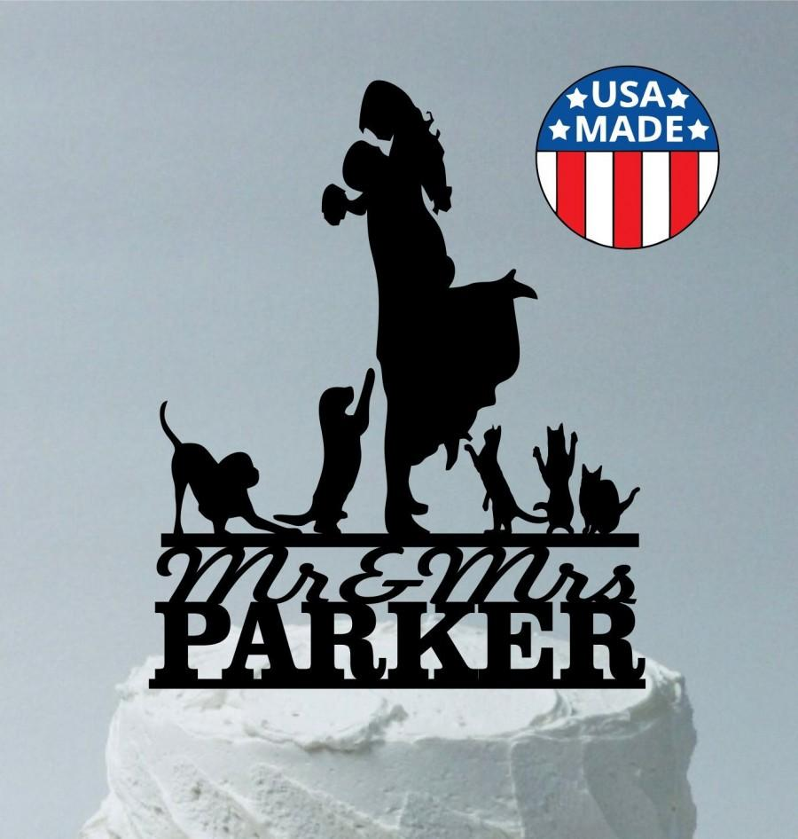 Свадьба - Custom Family Wedding Cake Topper Personalized, Up to a Family of 7 Max Choice of Silhouettes for Kids Girls Boys Dogs & Cats You Select