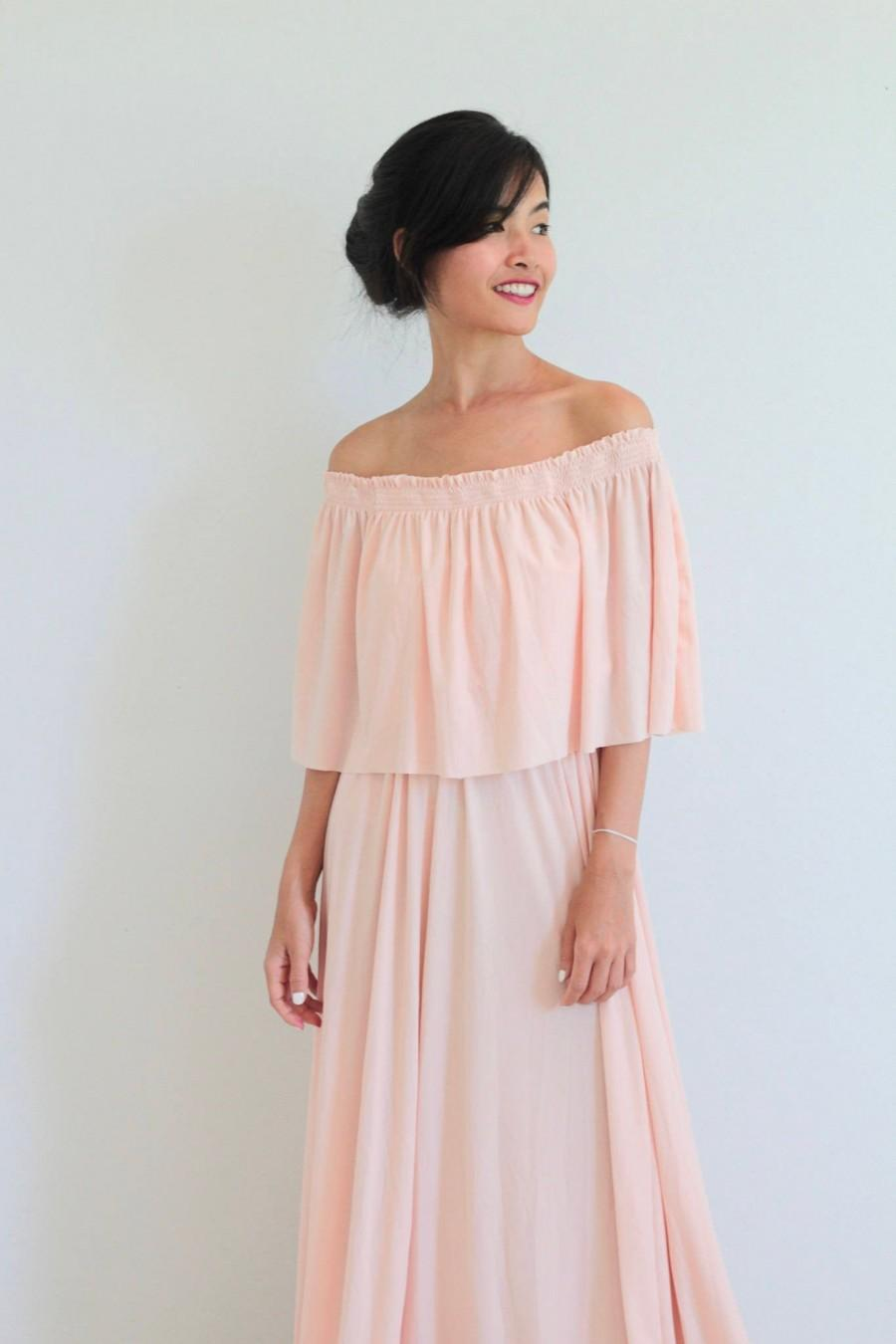 Wedding - Bridesmaid dress / Nude pink Off Shoulder With Ruffles Dress / Maxi Long Dresses/ Off Shoulder Maternity Dress
