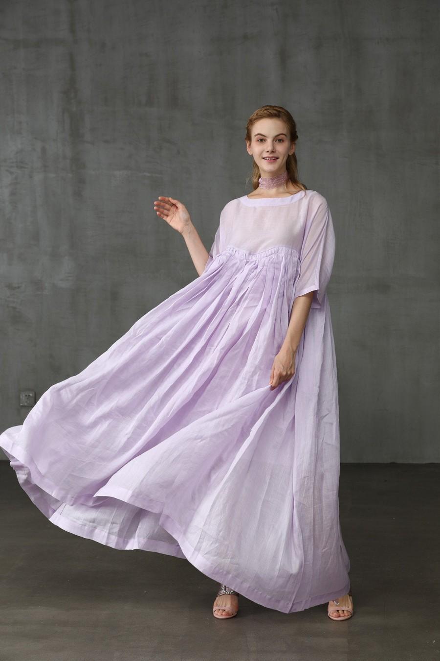 Wedding - linen dress, maxi dress in lilac, aqua and yellow, maxi wedding dress, bridal dress, lilac dress, cocktail dress