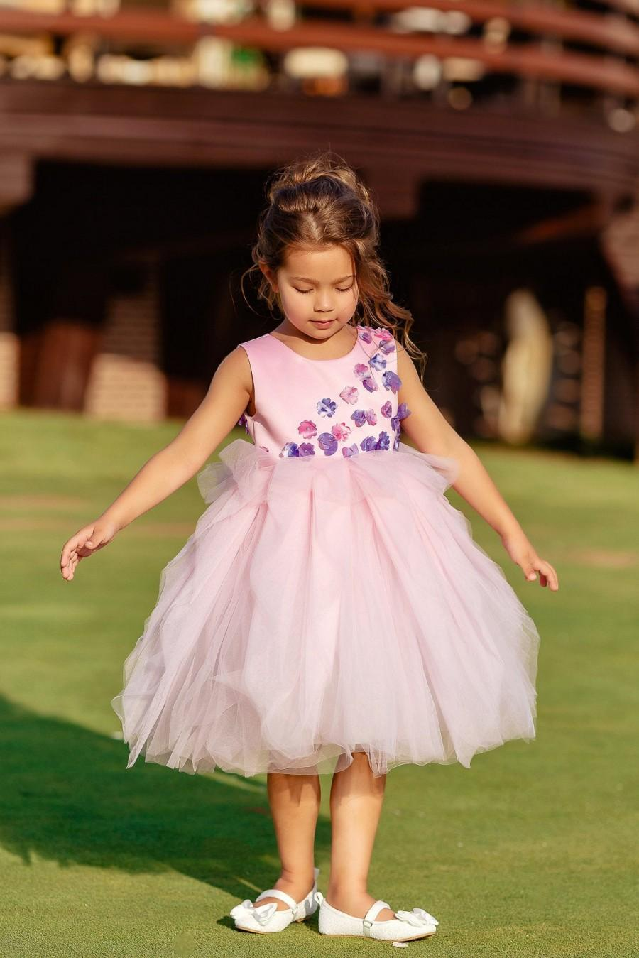 زفاف - Tutu Flower Girl Dress, Flower Girl Dress, Gently Pink Flower Girl Dress, Tulle Flower Girl Dress, Wedding Girl Dress, Baby Flower Dress
