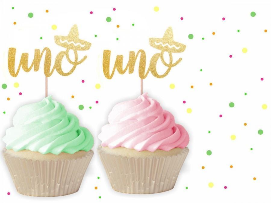 Mariage - Fiesta UNO Cupcake Toppers - Fiesta Decorations, Uno Cupcake Toppers, Fiesta Party, Cinco de Mayo, Fiesta Birthday, First Birthday Fiesta
